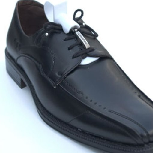 Image showing the greeper assist attached to a black shoes with black greeper assist laces