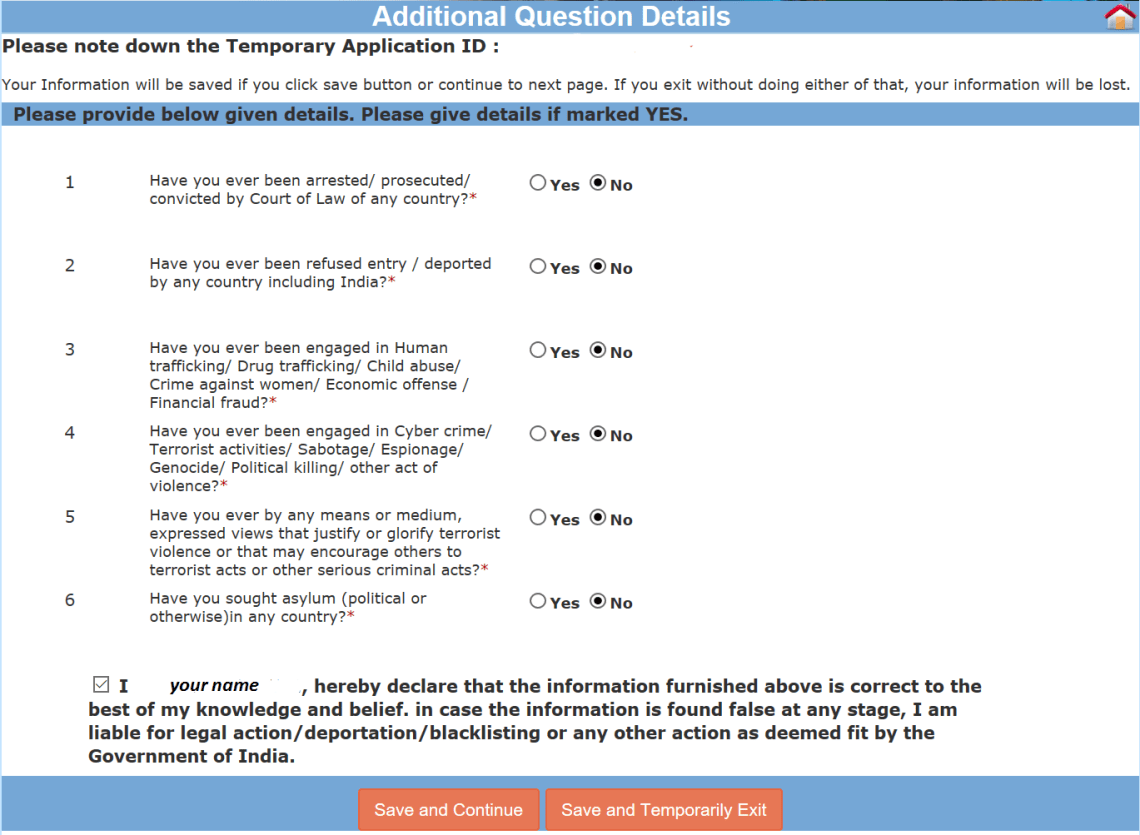 indian e visa application page 5
