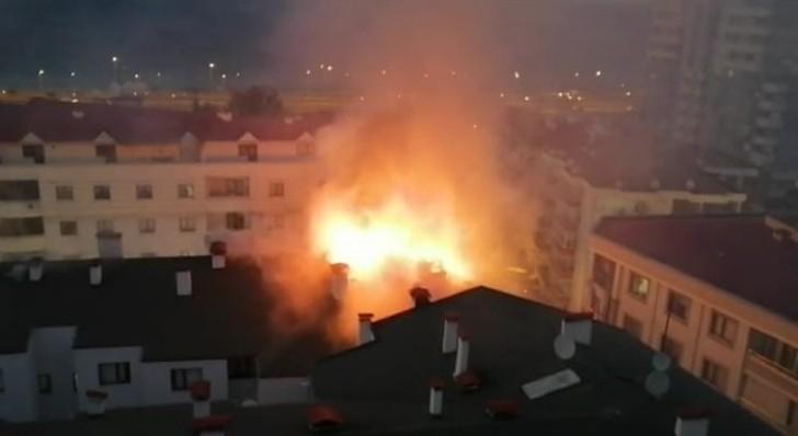Trabzon'da çatı yangını korkuttu
