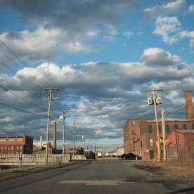 Clouds and wires over Holyoke — copyright Trace Meek