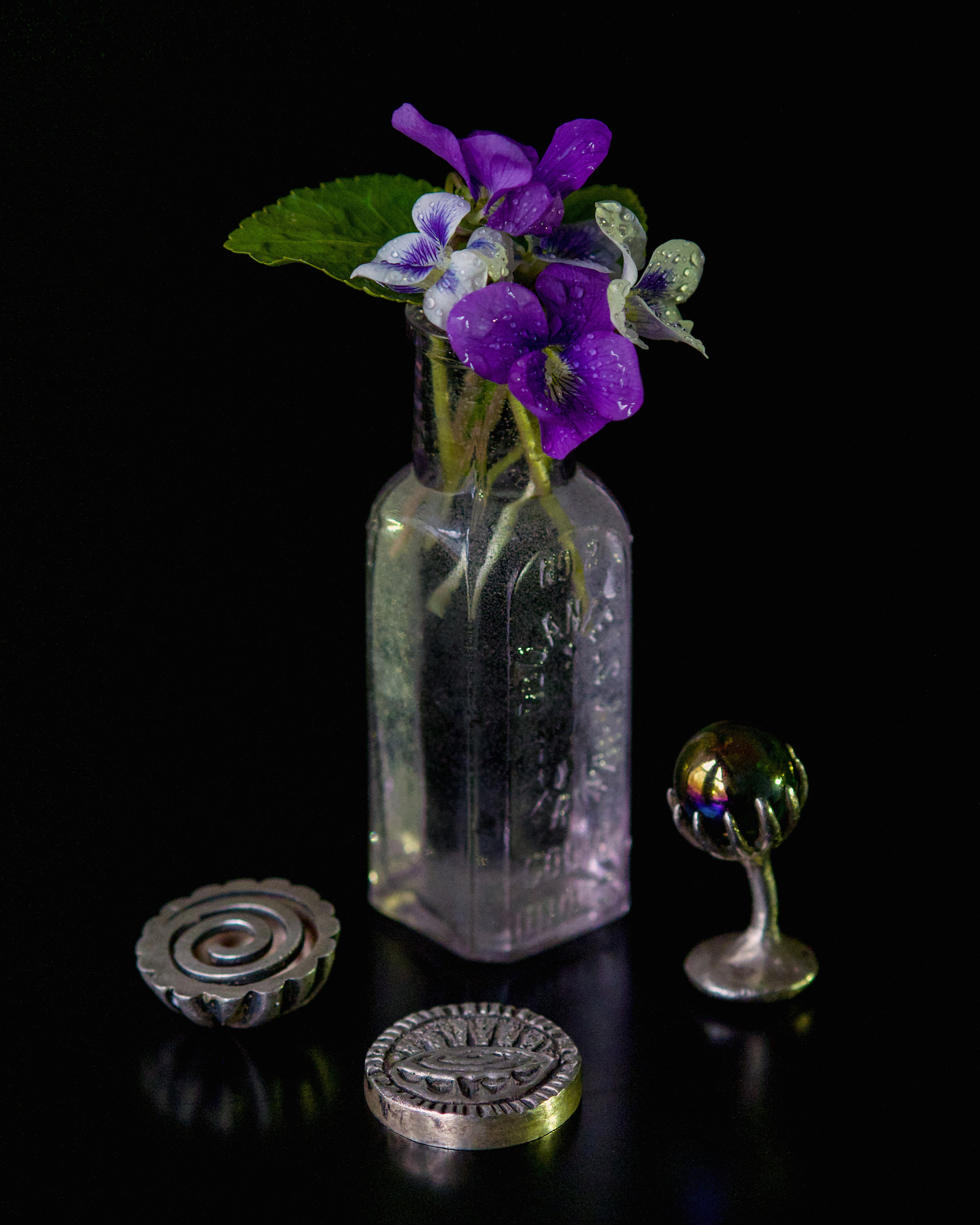 Still Life with Wild Violets and Silver Trinkets
