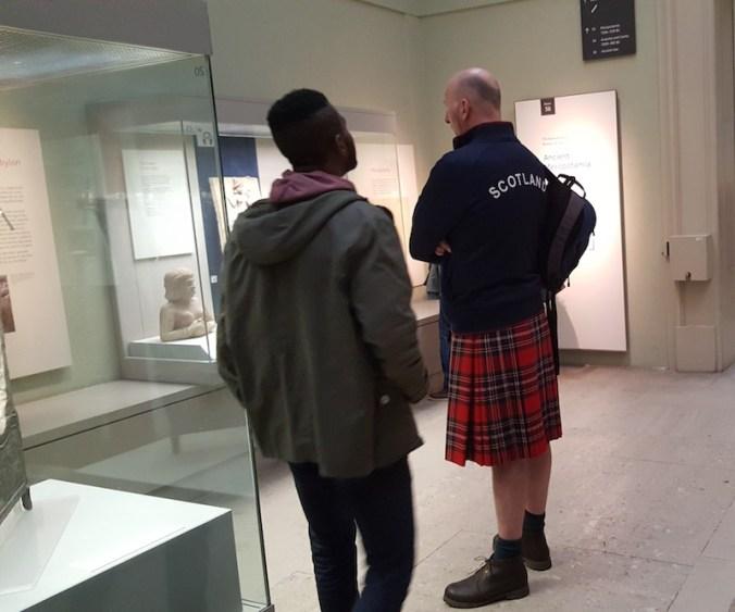 British Museum, l'Ecossais est un vrai, pas une pièce du musée ;-)