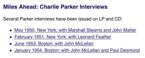Charlie Parker Interviews