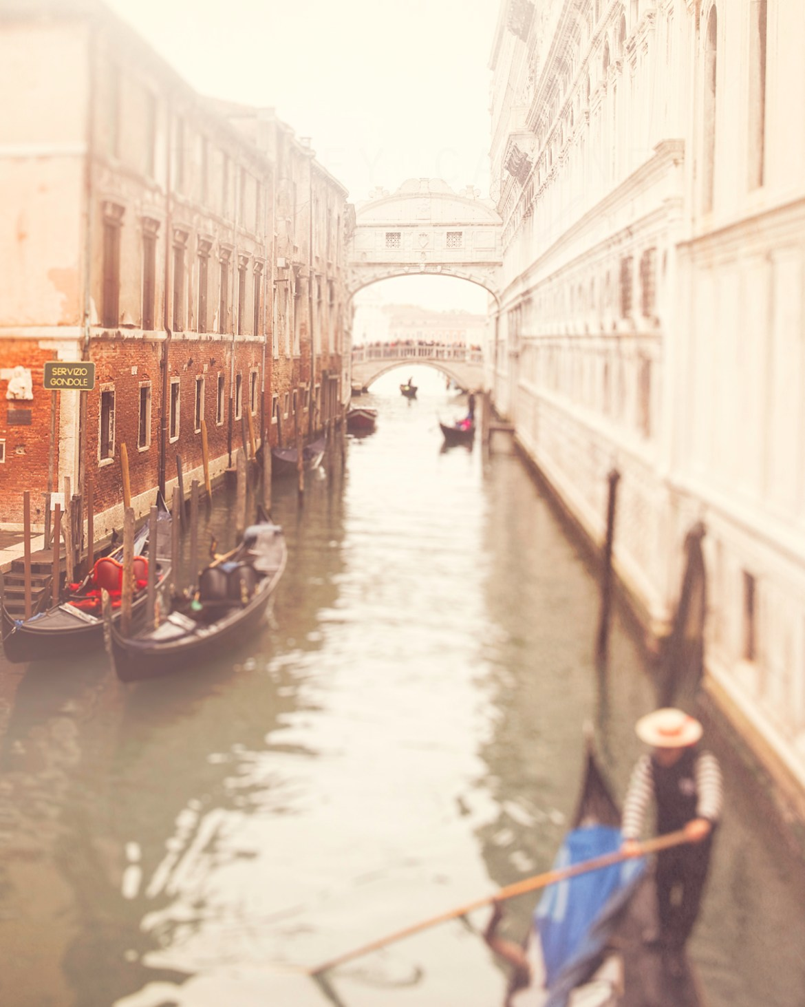 Abstract photograph of a gondolier along the Bridge of Sighs
