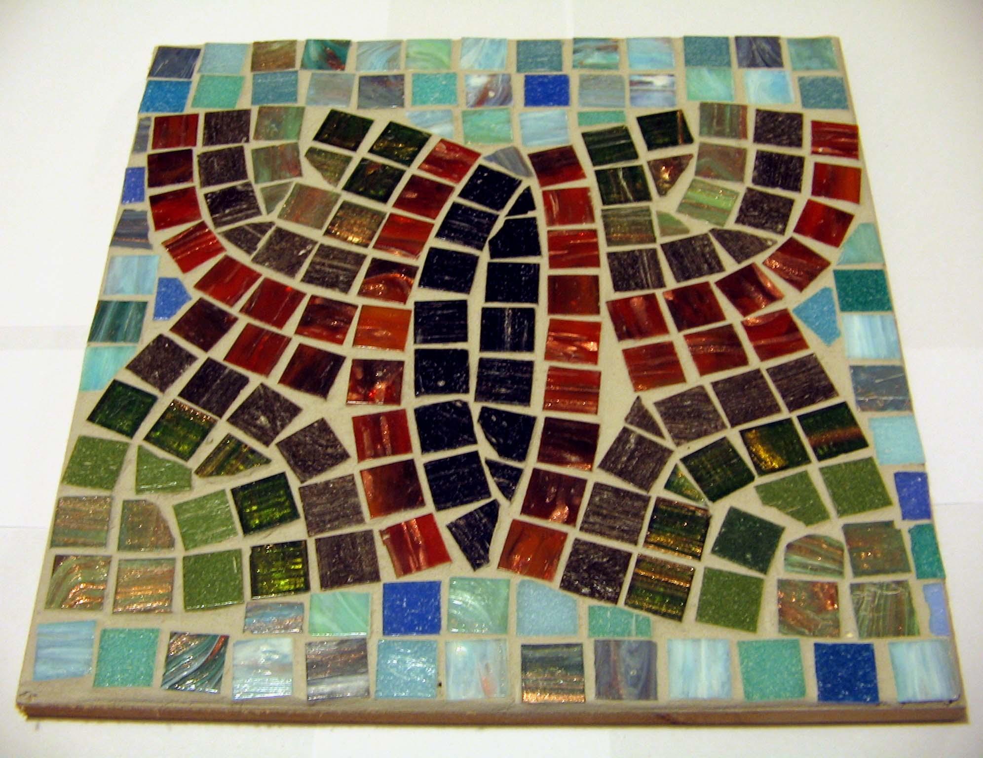 Glass mosaic on board