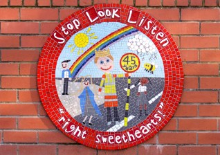 Design composed from pupils' drawings to celebrate 45 years of crossing the road safely with Heather, Sale, Greater Manchester, 2016