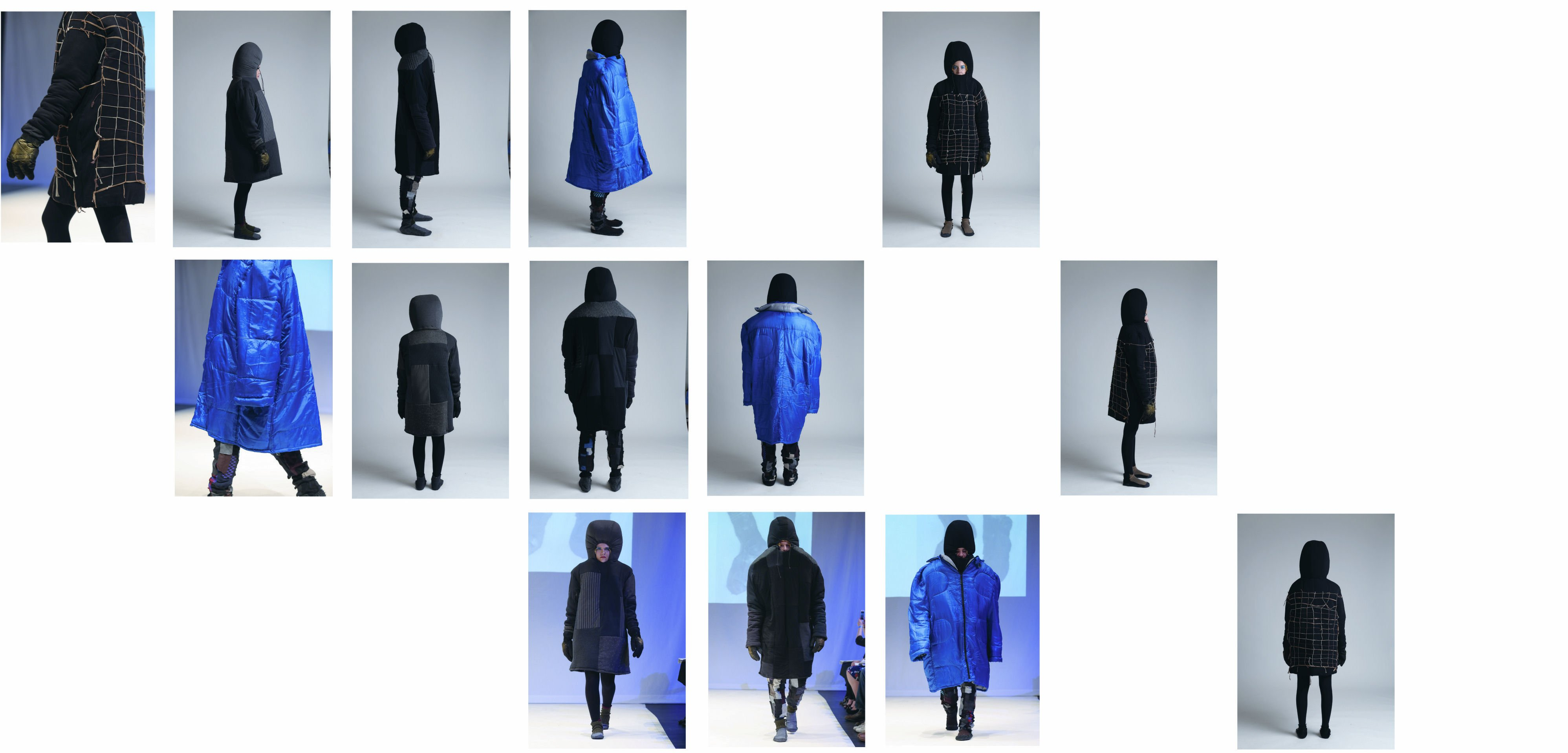 Front, side and back views of Tracey Dockree's series of giant hoodies