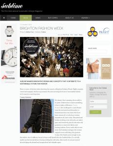 Screenshot of the Sublime magazine article on Brighton Fashion Week