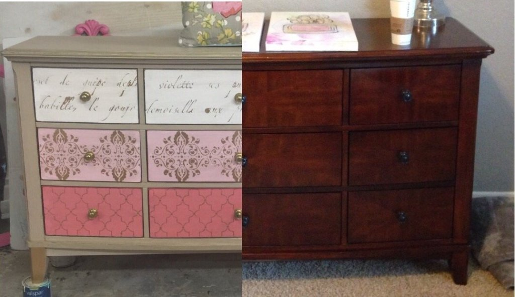 Pink and Metallic Gold Stenciled Dresser | Tracey's Fancy