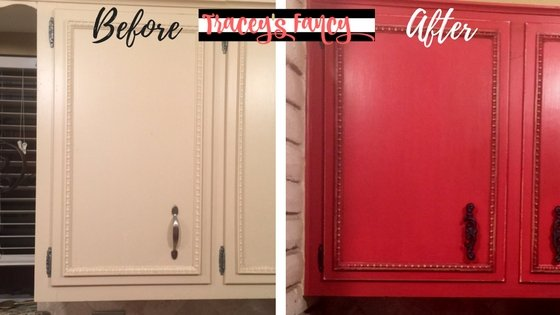 Painted Red Cabinets | Tracey's Fancy