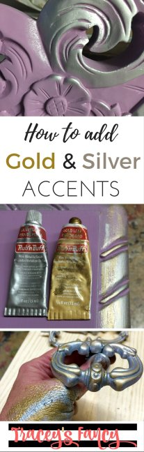 Pin It: Gold and Silver Accents Purple Desk | Tracey's Fancy