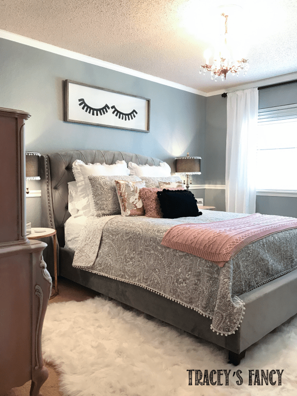 Rose Gold and Gray Girls Bedroom Makeover   Tracey's Fancy