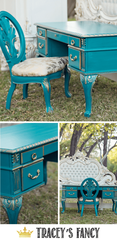 Gold and Teal Painted Desk by Tracey's Fancy Fancy #Furnituremakeover #furniture Painted furniture Ideas #teal Blue desk #colorful desk