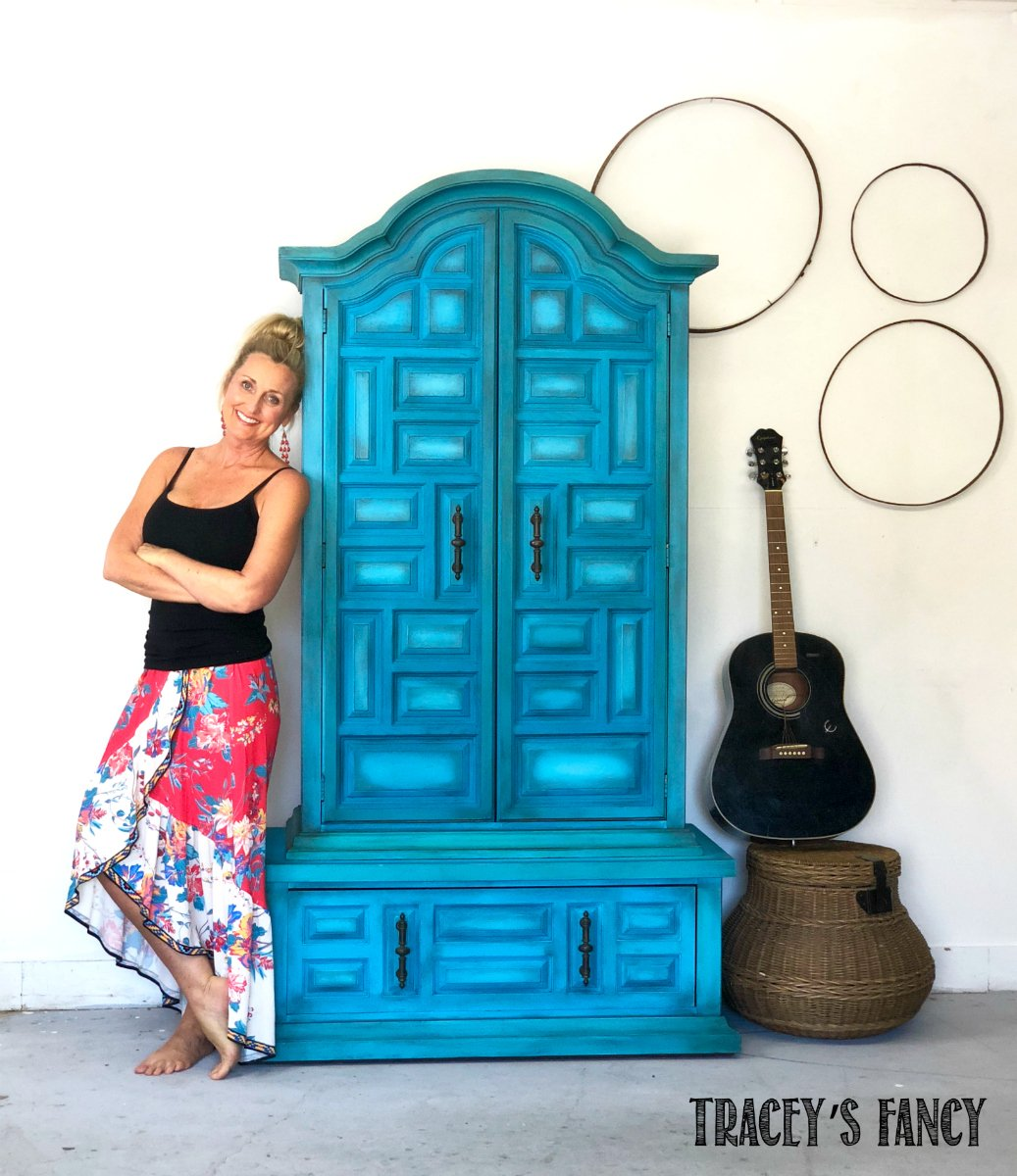 Paint Blended Blue Armoire Tracey's Fancy After