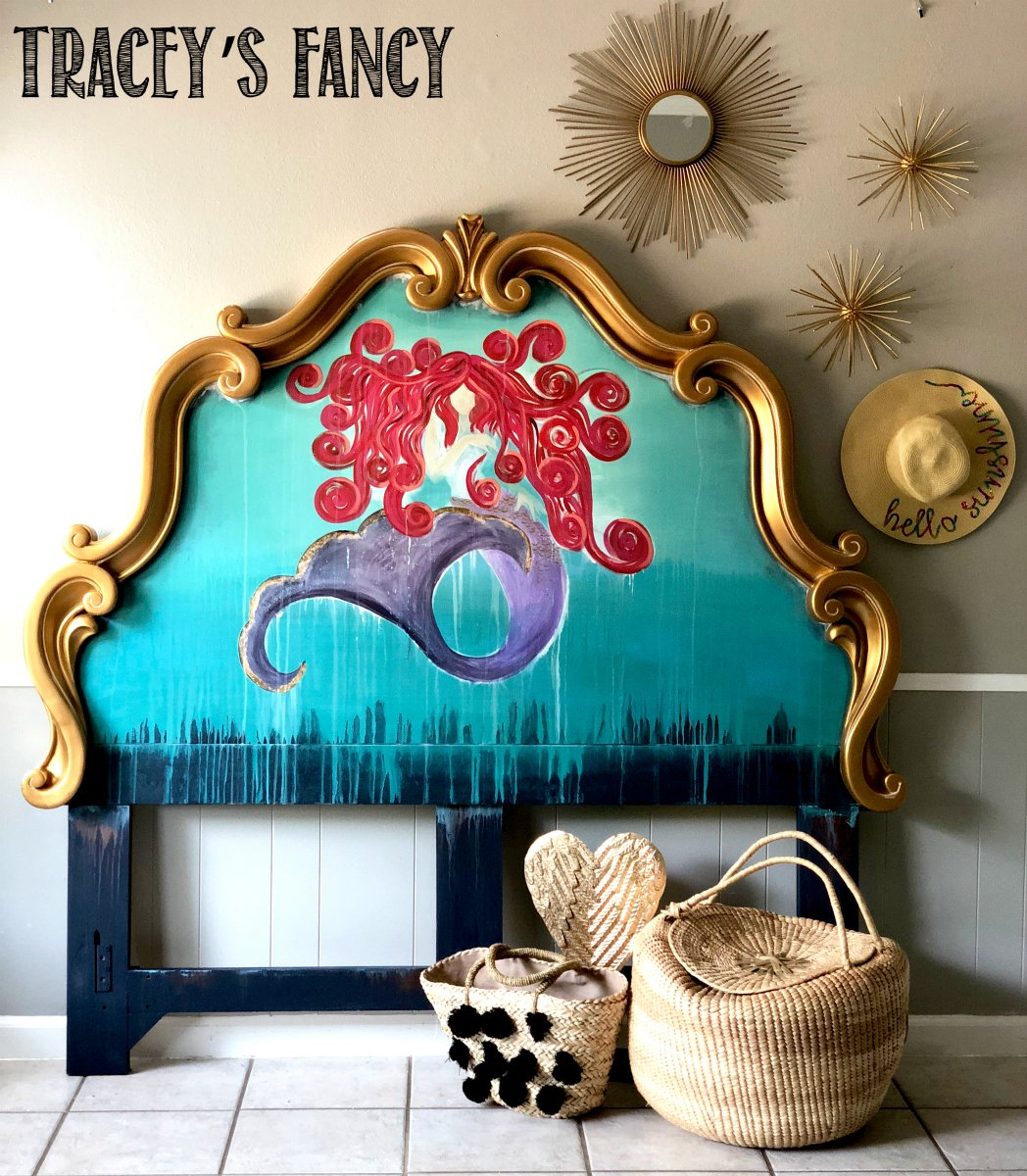 Whimsical Painted Mermaid Headboard by Tracey's Fancy