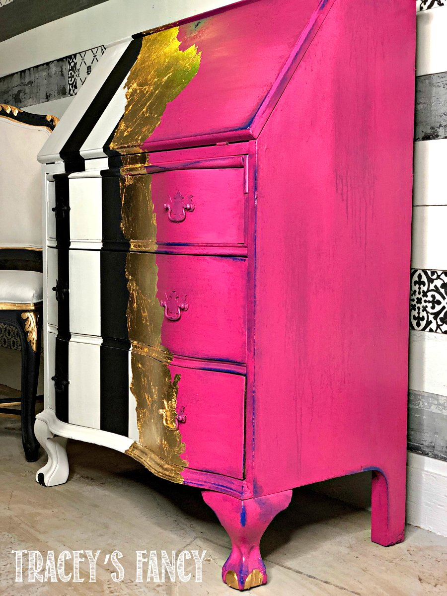 Hot Pink Whimsical Painted Desk by Tracey's Fancy 2