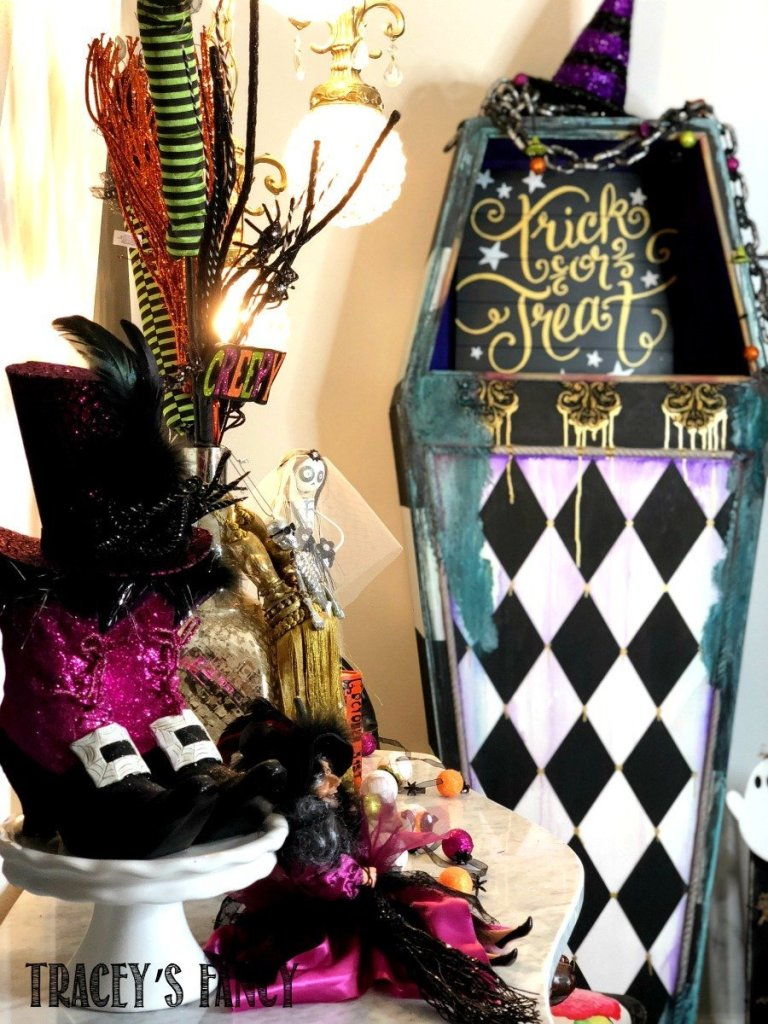 Harlequin Patterned Halloween Coffin by Tracey's Fancy