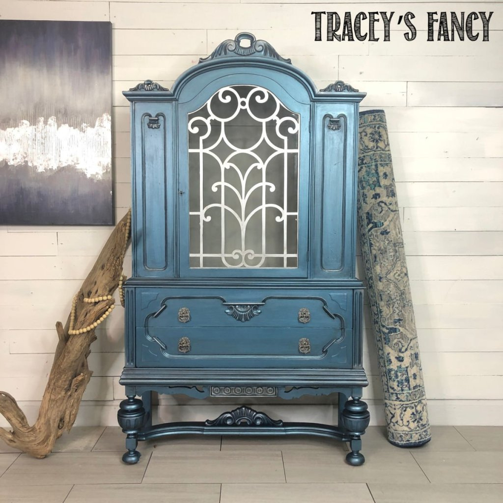 Metallic Blue China Hutch by Tracey's Fancy