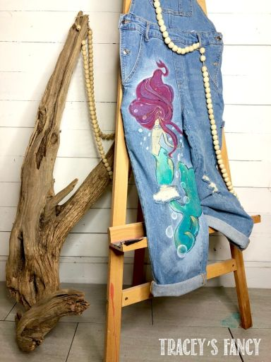 Mermaid painted overalls by Tracey's Fancy