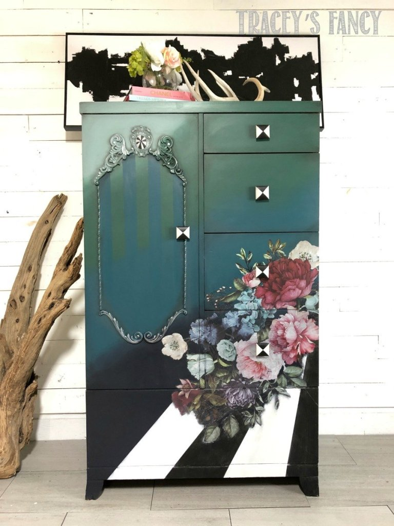 Pop Art Cabinet with rose design transfer by Tracey's Fancy