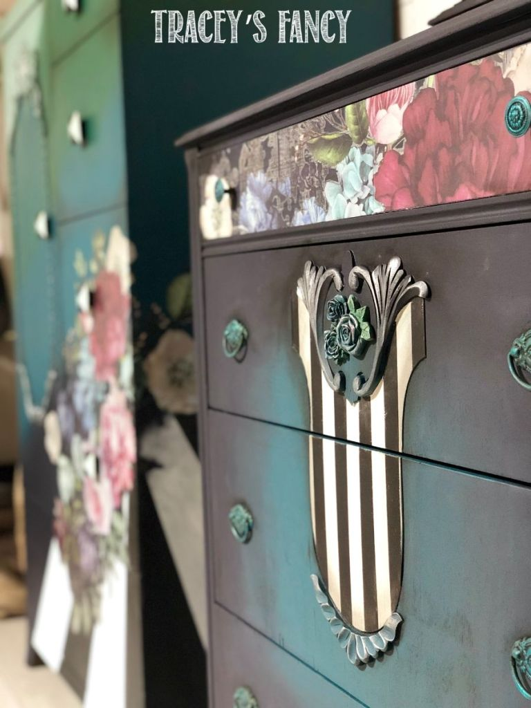 Blue color blended cabinet with whimsical stripe accent | Tracey's Fancy