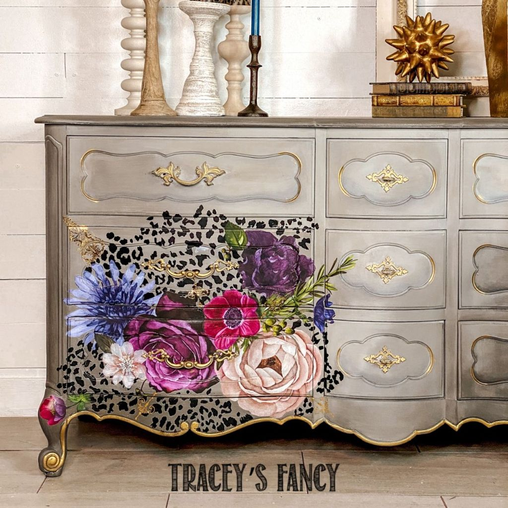 Leopard and floral design transfer Dresser | Tracey's Fancy