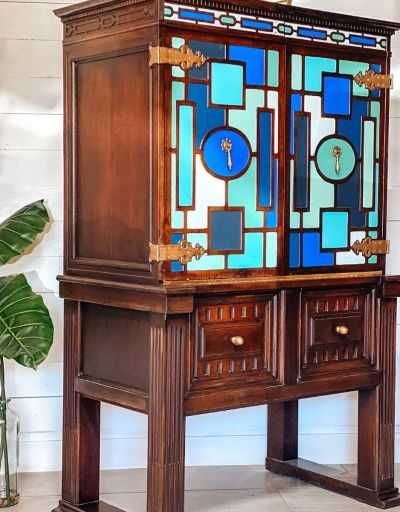 blue geometric painted furniture with surprising inside design | Tracey's Fancy