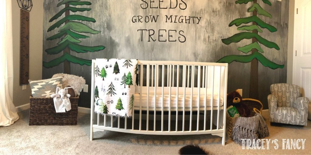 Woodland nursery water washed wall mural | Tracey's Fancy