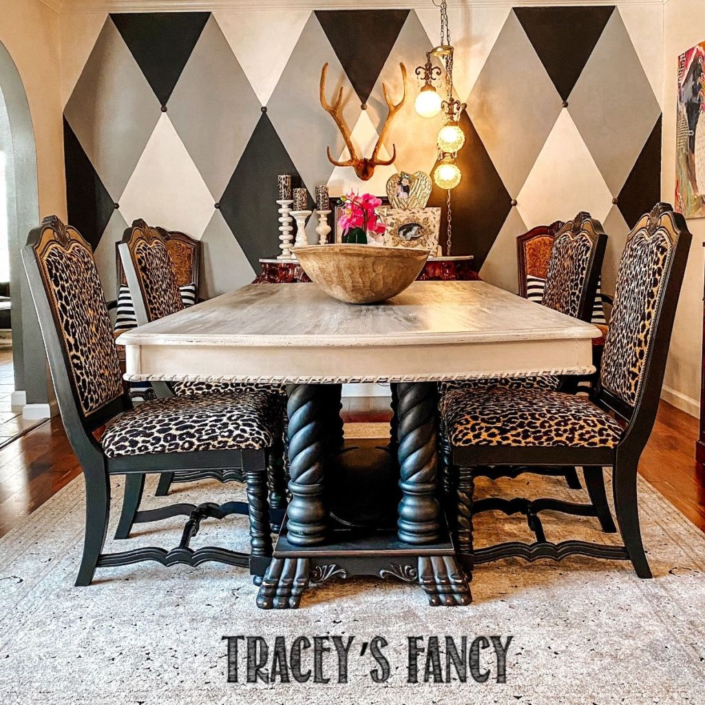 How to reupholster dining room chairs in leopard print | Tracey's Fancy