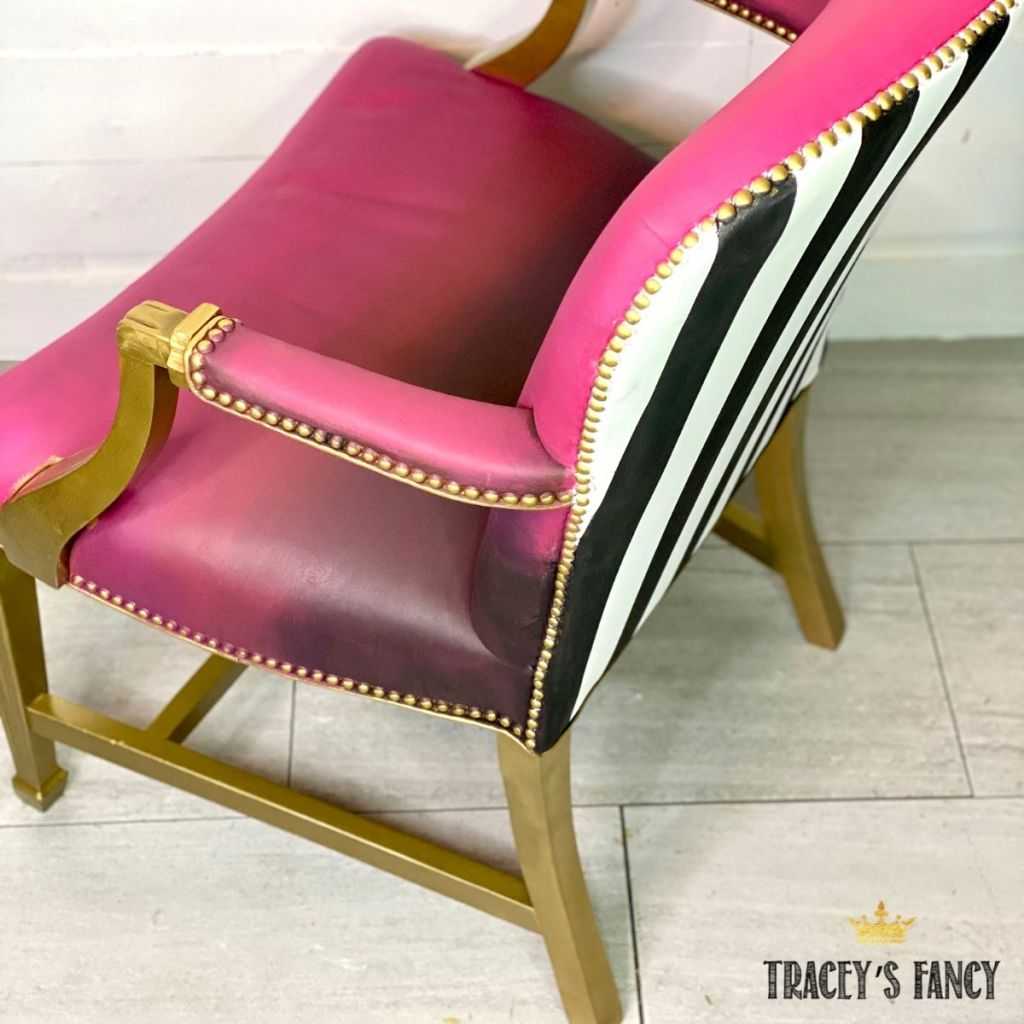 whimsical color blended chalk painted leather chair | Tracey's Fancy
