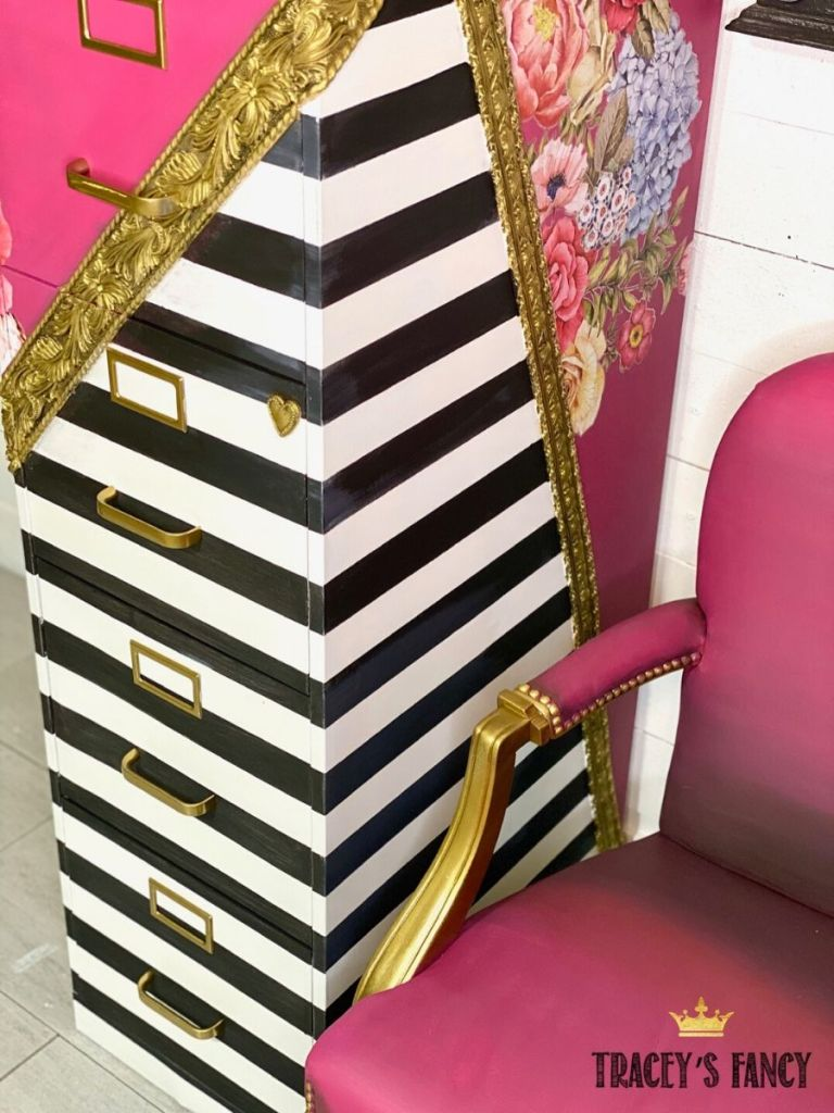 Whimsical metal filing cabinet makeover by Tracey's Fancy