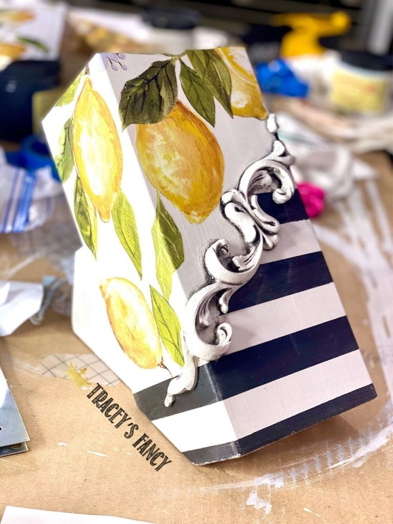 Funky and fun gift idea - lemon striped knife block by Tracey's Fancy
