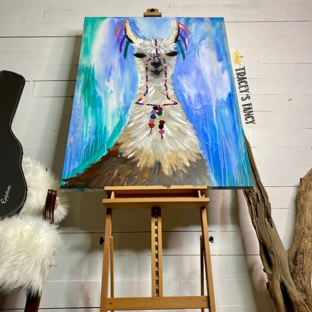 llama canvas painting by Tracey's Fancy