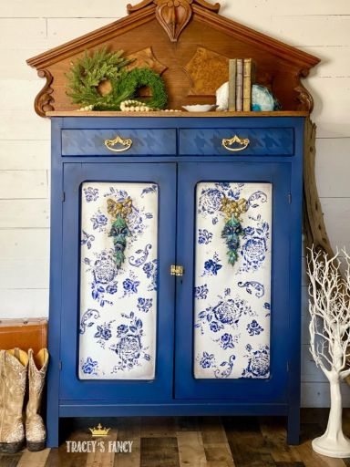 blue shaker cabinet with floral silk screen and houndstooth stencil by Tracey's Fancy