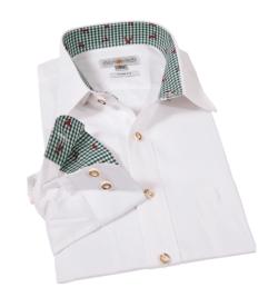 Almsach Hemd weiß mit grün