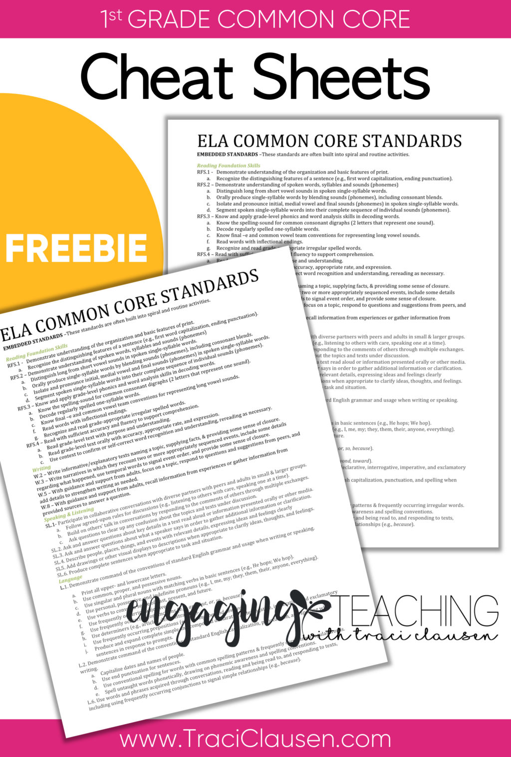 common core cheat sheets