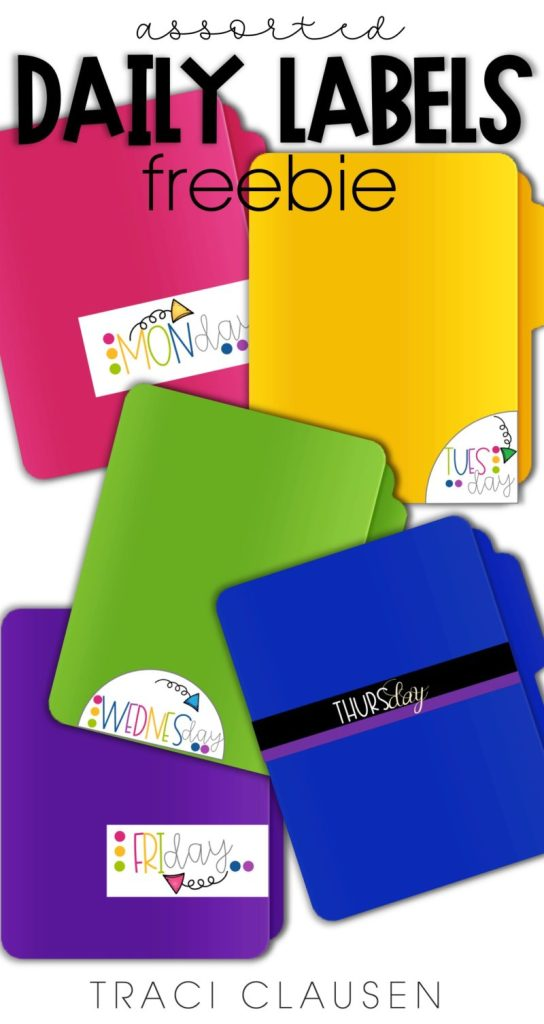 Colorful file folders with labels