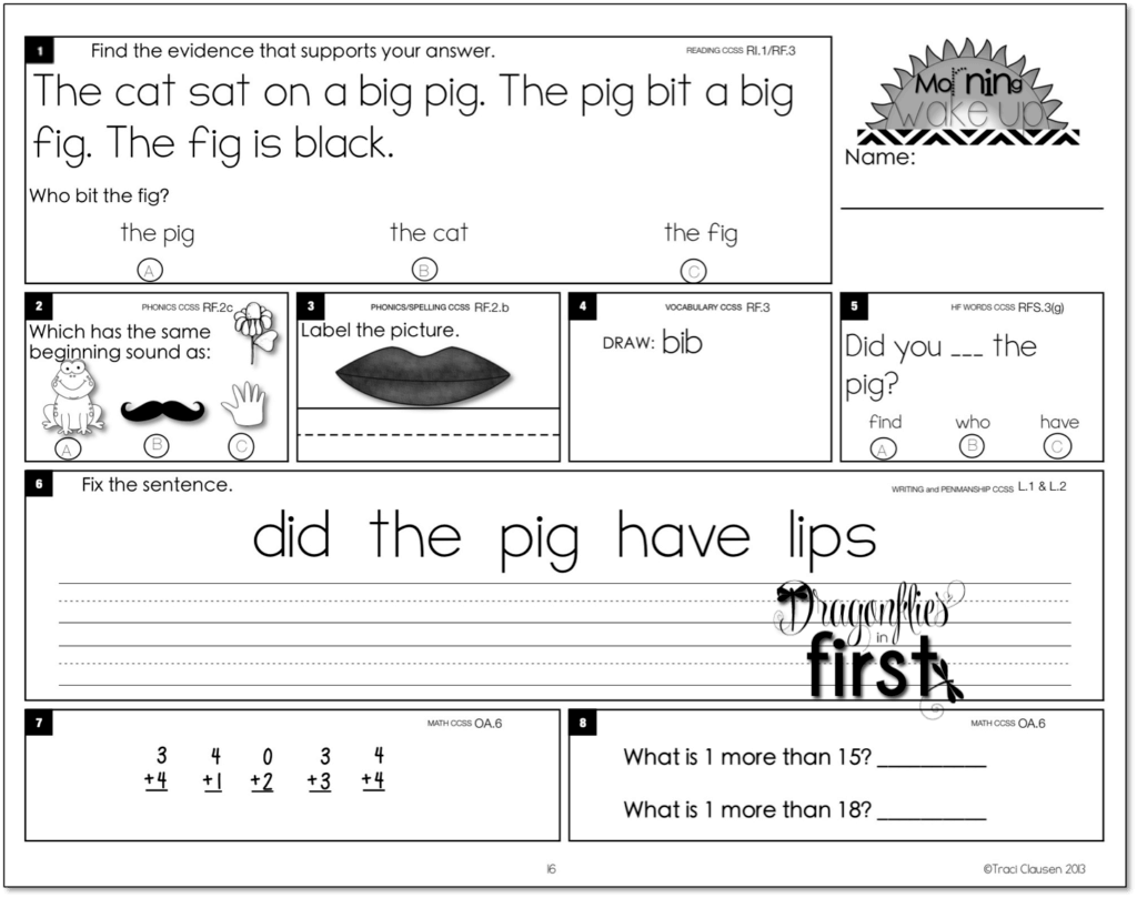 Morning Math Worksheet For 1st Grade