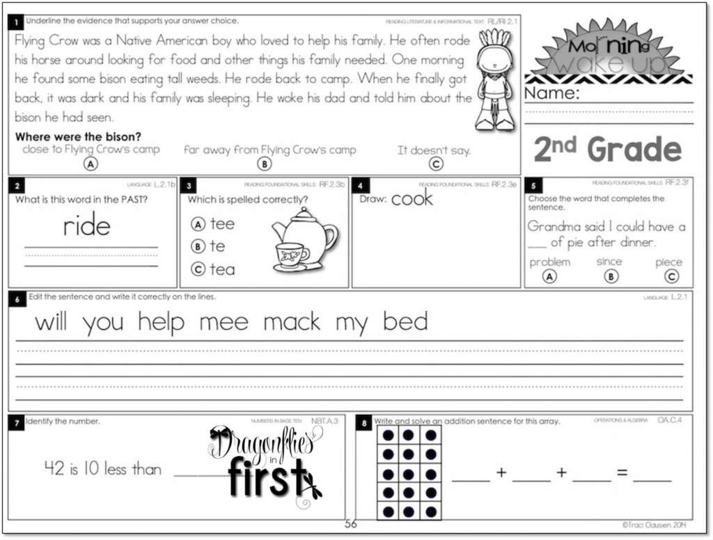 photograph regarding Free Printable Morning Work for 3rd Grade referred to as Significant and Partaking Early morning Get the job done for K-2! Early morning Wake Up!