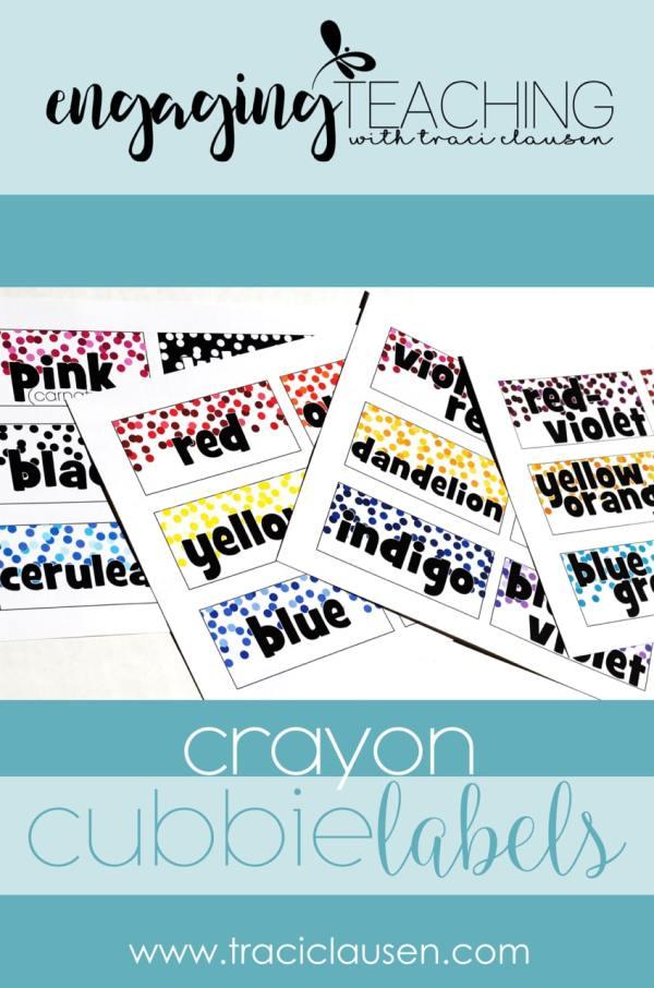 Crayon Cubbie Labels