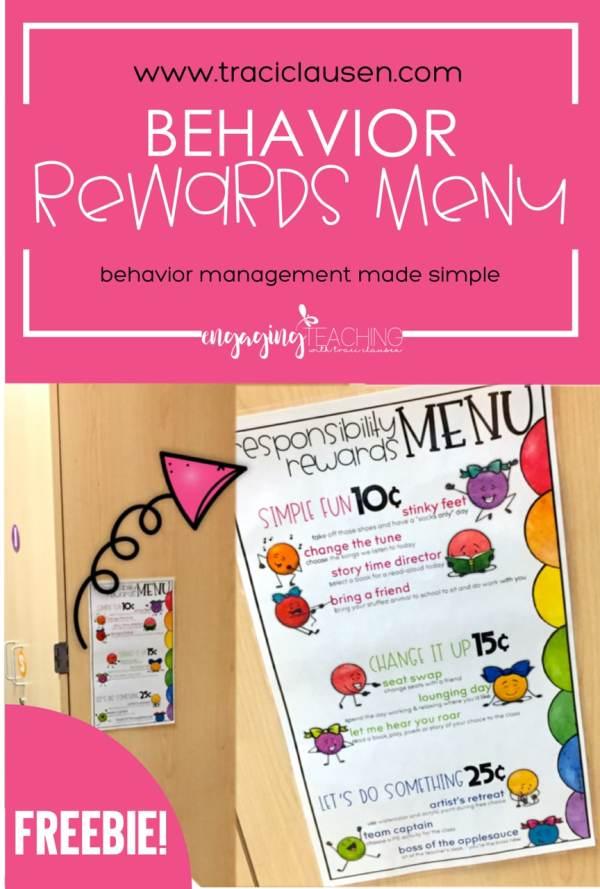 Behavior Management Rewards Menu