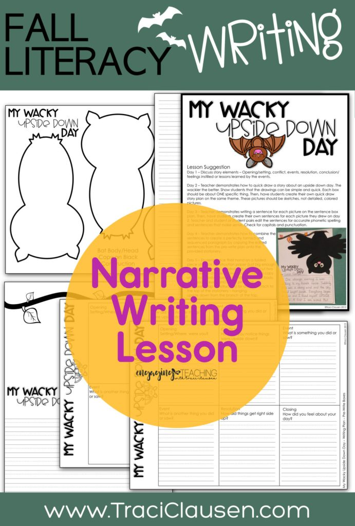 narrative writing lesson plan and stationary and bat craft blackline