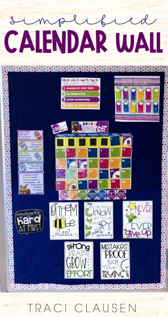 Classroom calendar wall