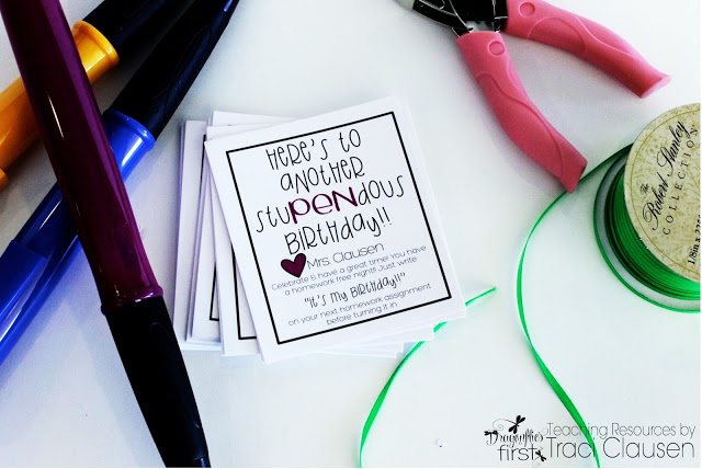 Student Birthday Gifts - JUMBO PEN with Adorable FREEBIE homework pass - Engaging Teaching with Traci Clausen