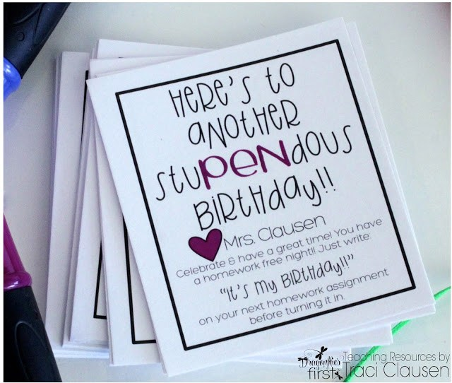 Celebrate Student Birthdays  - JUMBO PEN with Adorable FREEBIE homework pass - Engaging Teaching with Traci