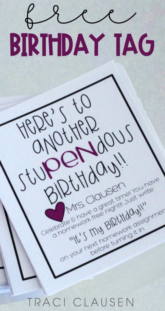 Close up of birthday gift tag