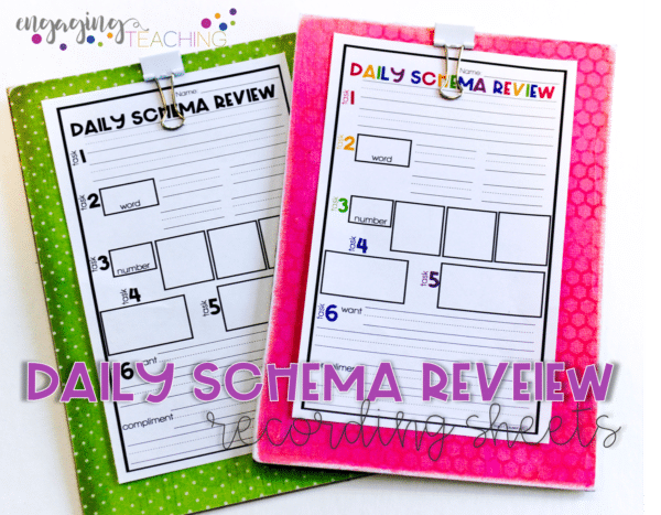 Daily Schema Review Recording Sheets