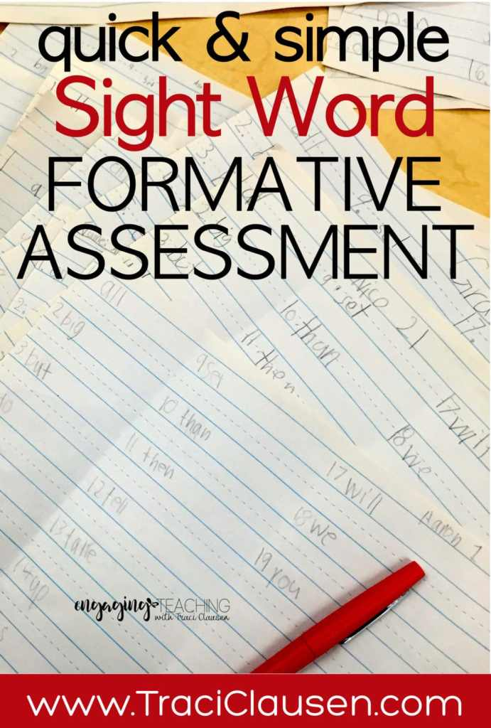 Sight Word Formative Assessment
