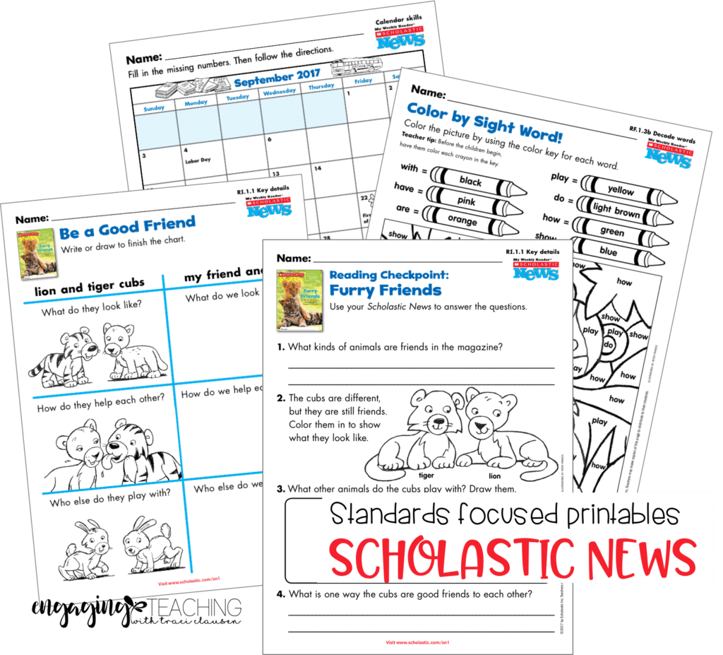 Standards Focused Printables with Scholastic News. Engaging and Rich Social Studies and Science Content - TraciClausen.com