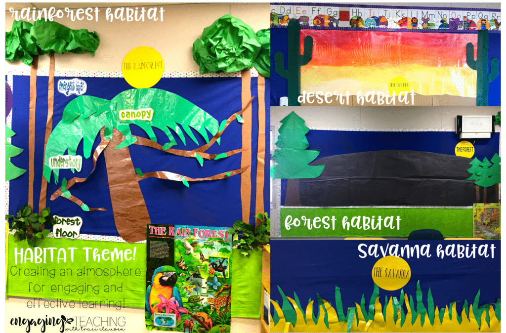 Animal and plant habitats. Engaging bulletin boards for thematic learning. Engaging and Rich Social Studies and Science Content -TraciClausen.com
